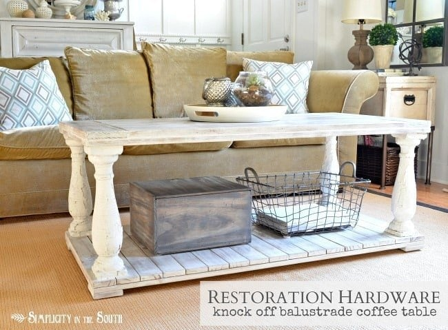 How to make a Restoration Hardware knock off balustrade coffee table.