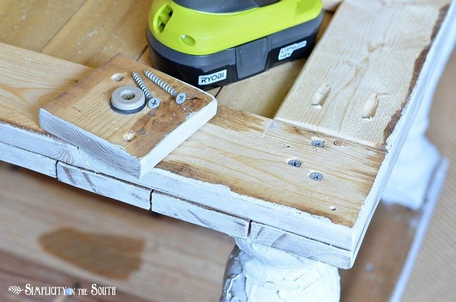 coffee table baluster legs- how to attach