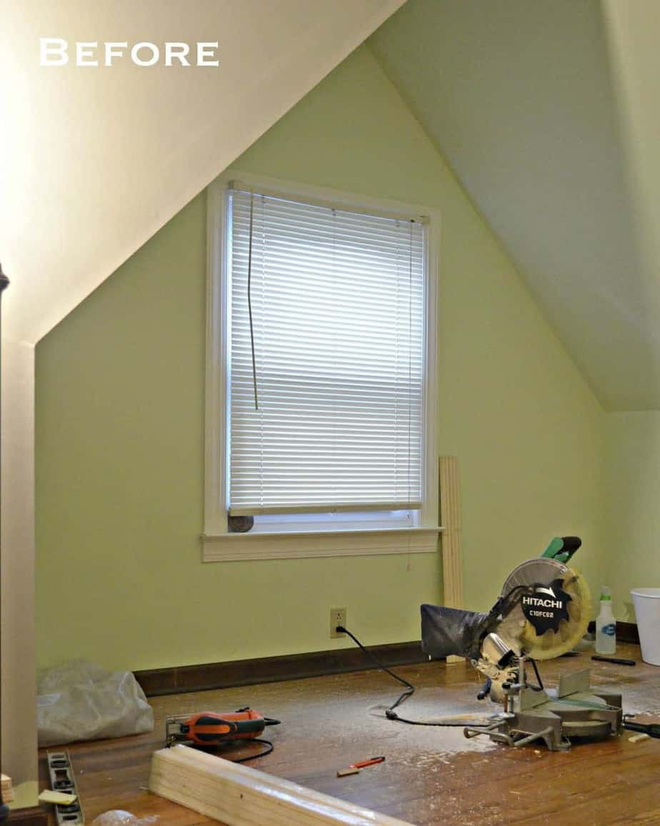Before photo: How to make a built-in bed using stock kitchen cabinets dormer attic bedroom