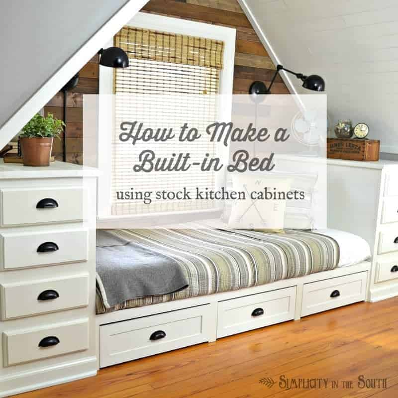 How to make a built in bed using stock kitchen cabinets and trundle drawers. This attic dormer bedroom was totally transformed into a functional space with the use of built-ins.