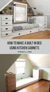 How to make a built-in platform bed using kitchen cabinets with building plans