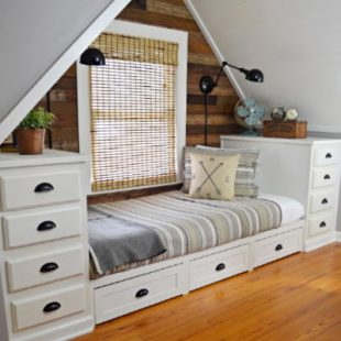 built in bed dormer bedroom with office reveal square
