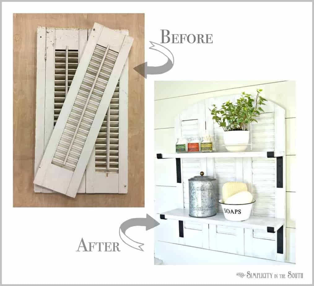 knock off ballard designs repurposed shutters bathroom shelf lots of projects are going on behind the scenes over at our 100 year old bungalow this ballard designs inspired shutter shelf is going in our master