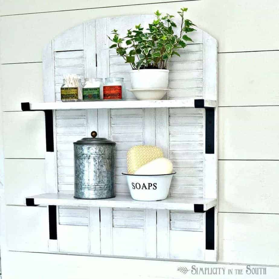 Knock-Off Ballard Designs Repurposed Shutters Bathroom Shelf
