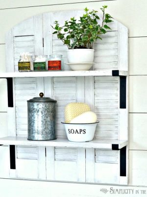 Knock-Off Ballard Designs Repurposed Shutters Bathroom Shelf