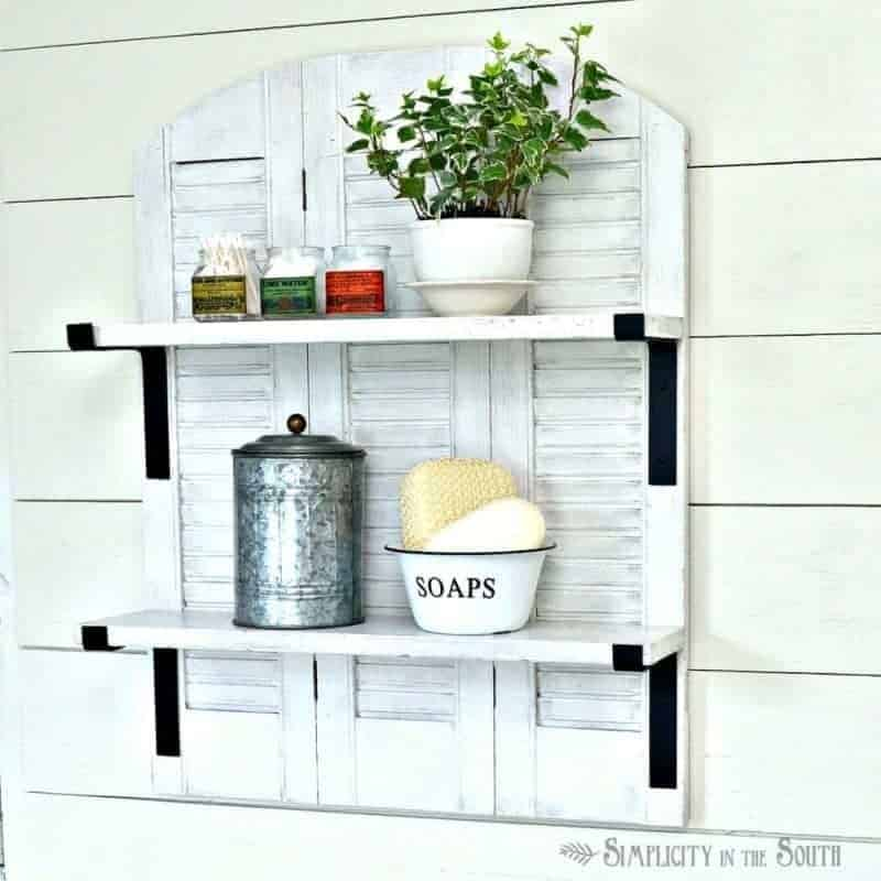 DIY Farmhouse Style Shutter Shelf by Simplicity in the South