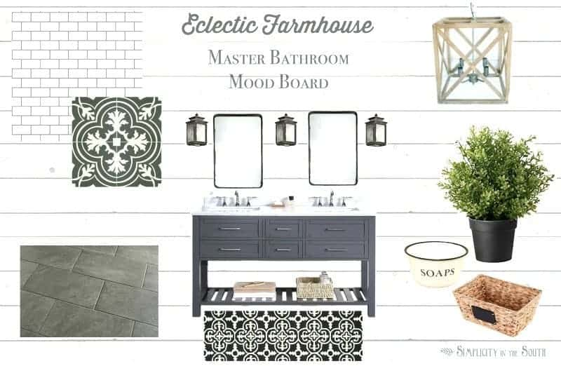 Eclectic Farmhouse Master Bathroom Inspiration and Mood Board by Simplicity in the South
