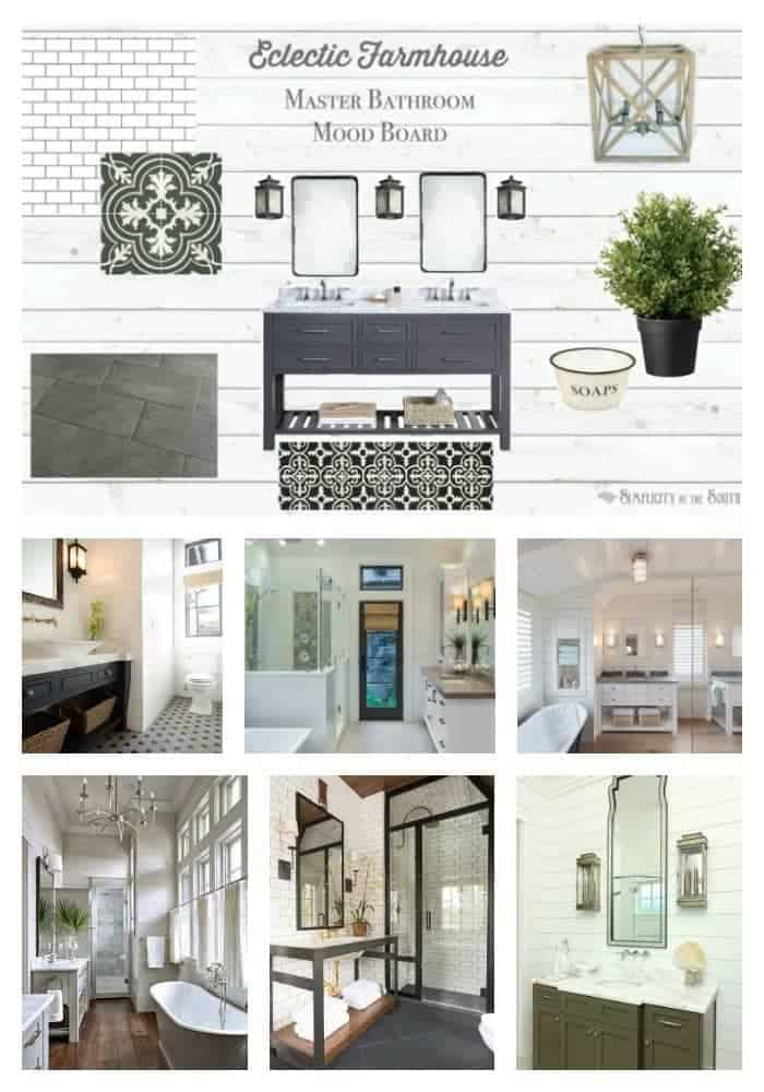 Eclectic Farmhouse Master Bathroom Inspiration and Mood Board