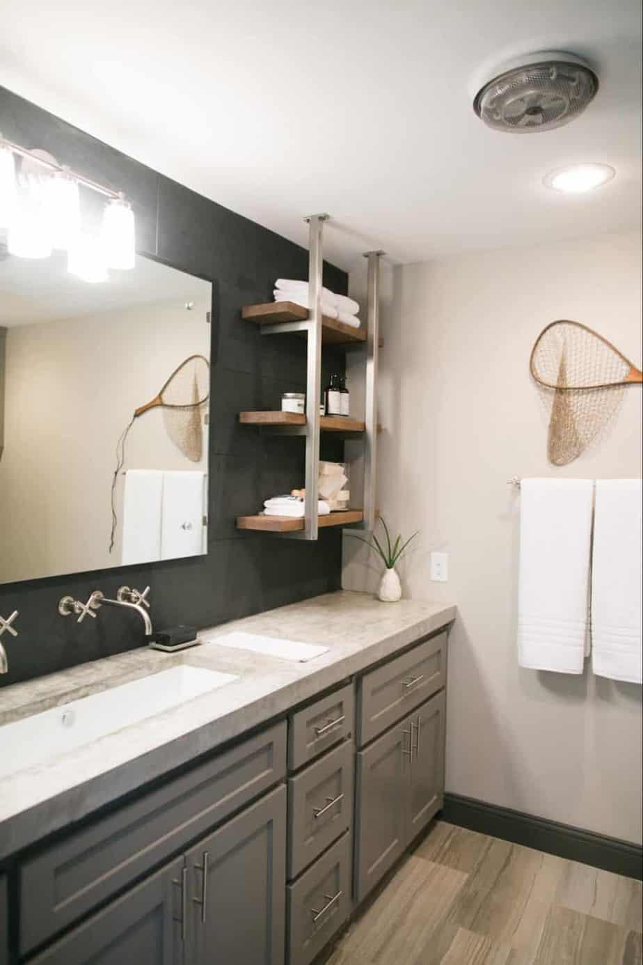 Fixer Upper bathroom with concrete countertops