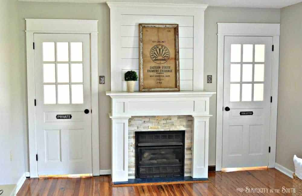 Beautiful Fireplace Surround With Ledge Stone Tile And Shiplap. Such An  Easy Way To Do