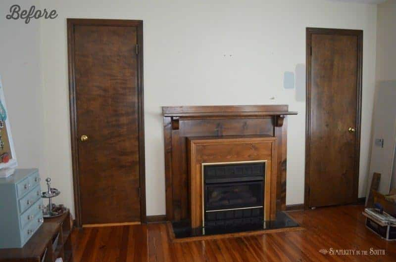 Before picture of fireplace. You should see the after! Such an easy way to do a DIY farmhouse style fireplace makeover on a budget with shiplap above the mantle and using stone tile and ply wood