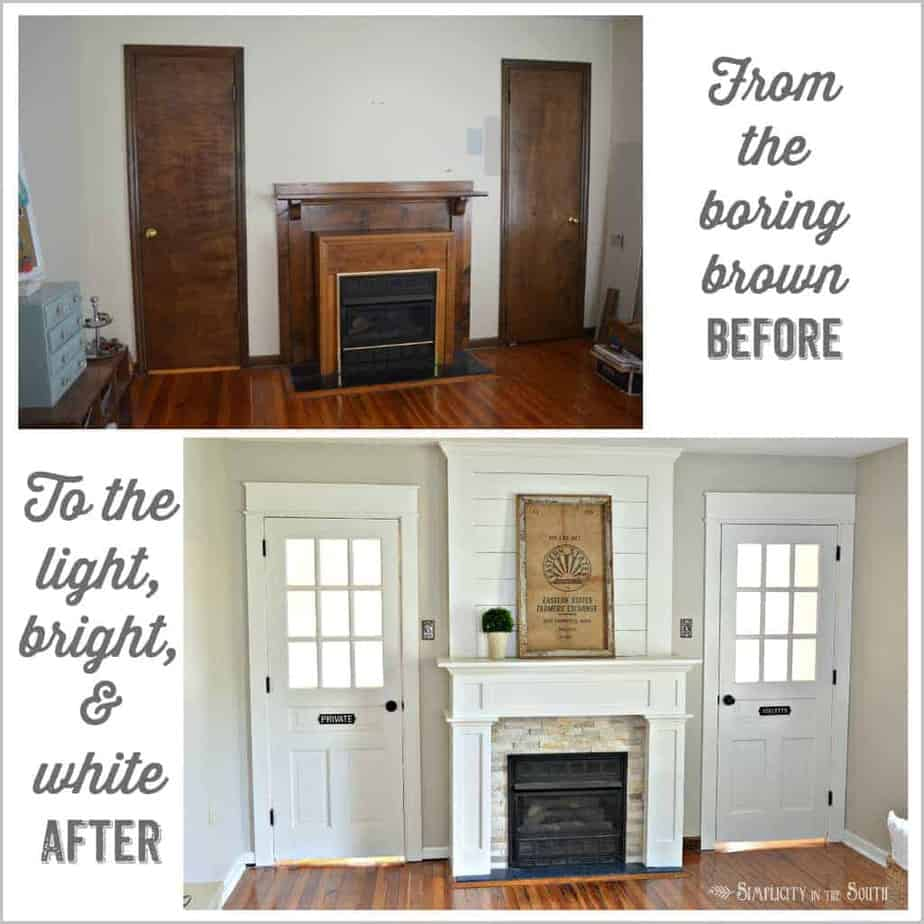 DIY Fireplace Surround Makeover: From the boring brown before to the light bright and white after.Such an easy way to do a DIY farmhouse style fireplace makeover on a budget with shiplap above the mantle and using stone tile and ply wood