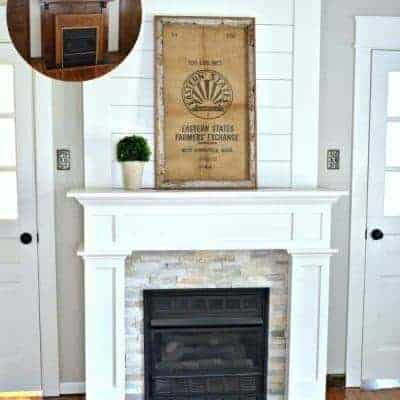DIY Budget Shiplap Fireplace Surround: From the Boring Brown Before to a Light, Bright & White After