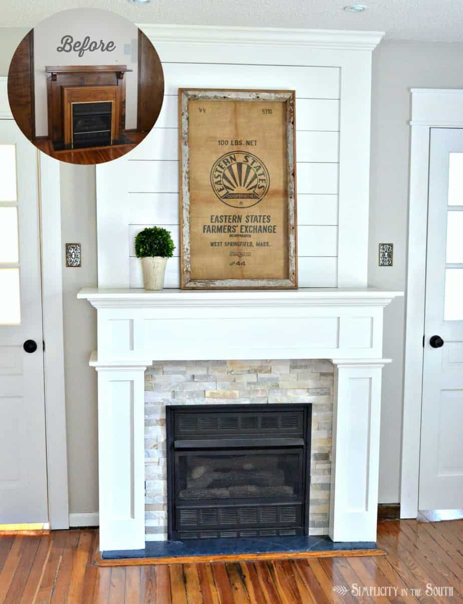 diy farmhouse style fireplace style makeover with shiplap stone tile and a simple craftsman style - How To Build A Fireplace Surround
