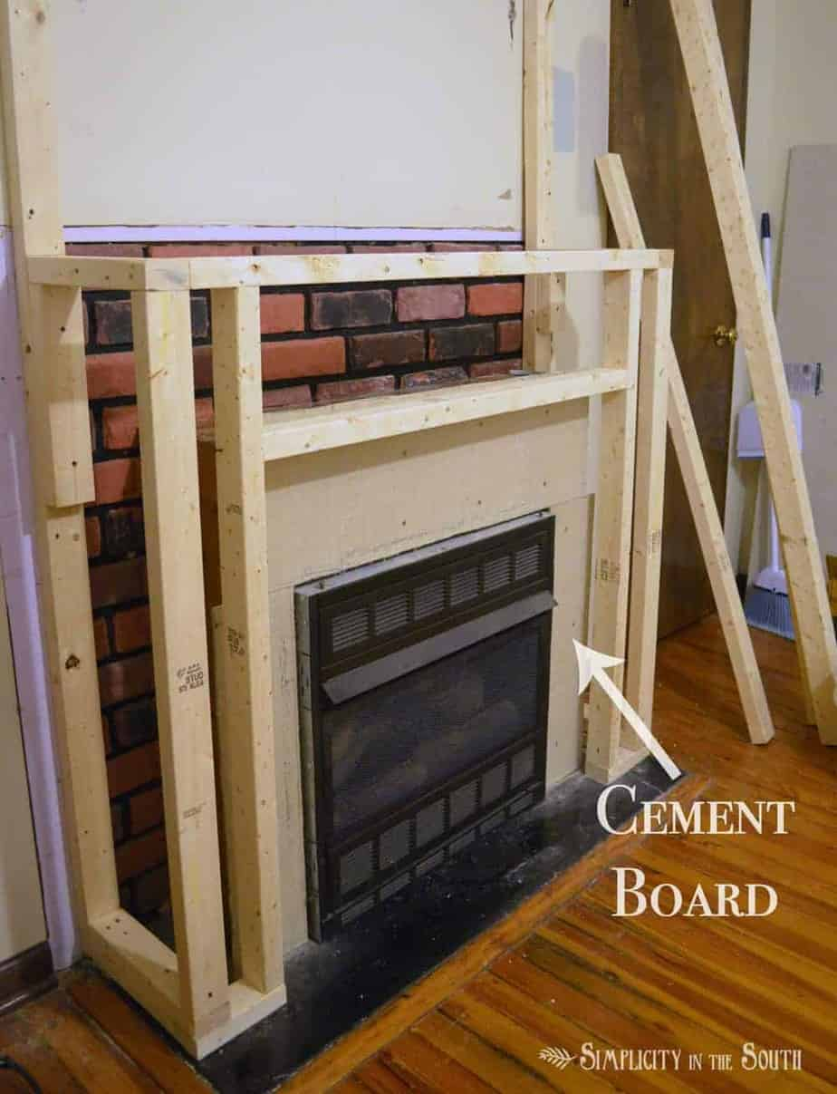 Next We Built The Framework Of Fireplace Surround With 2 X 3 S And Added Cement Board Around Gas Insert