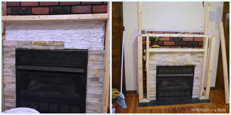 Quartz ledge stone going up around the fireplace surround