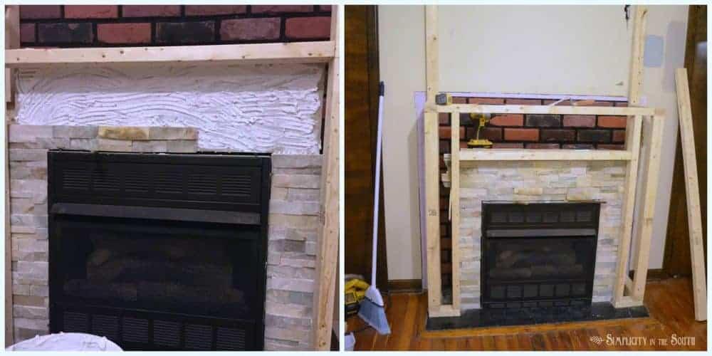 Quartz ledge stone going up around the fireplace surround