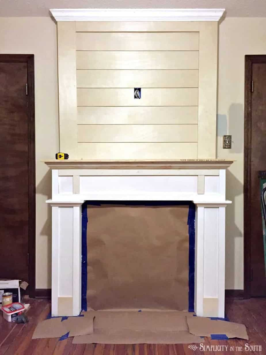 DIY Budget Shiplap Fireplace Surround Makeover: From the Boring Brown Before to a Light, Bright & White After 3