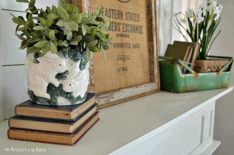 Simplicity in the South- Spring Home Tour fireplace mantel spring vingnette