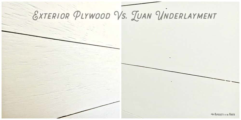 "These are 5 great reasons why you should use 3/8"" exterior plywood, aka CDX plywood, instead of 1/4"" underlayment, to shiplap walls. Shiplap walls -texture difference between exterior plywood and luan underlayment"