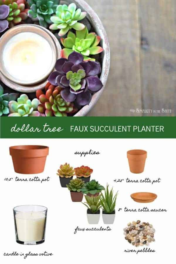how to make an inexpensive succulent planter from items found at the dollar tree