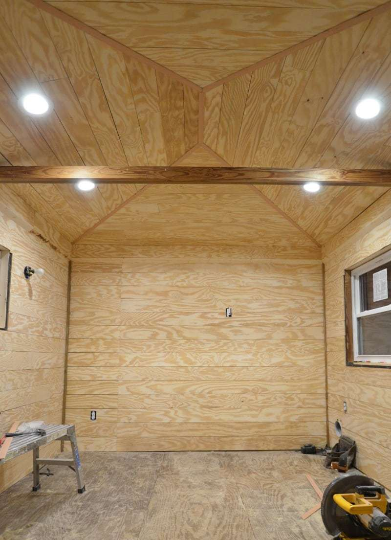 ORC Week 3: The Cottage Guest Shed Shiplap Walls, Painting & Lighting 5