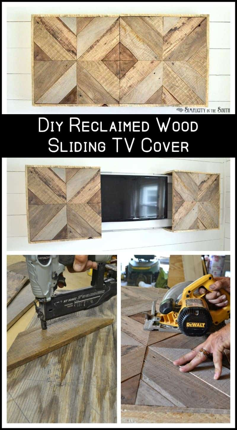 How to hide the television with a DIY sliding reclaimed wood cover