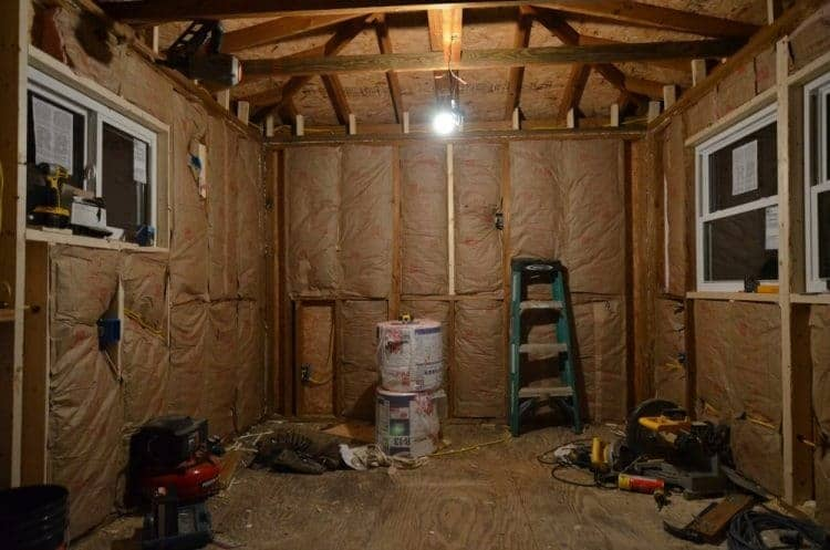Insulation for the cottage guest shed