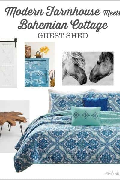 Modern farmhouse meets bohemian cottage The guest shed mood board- Week 1 One Room Challenge