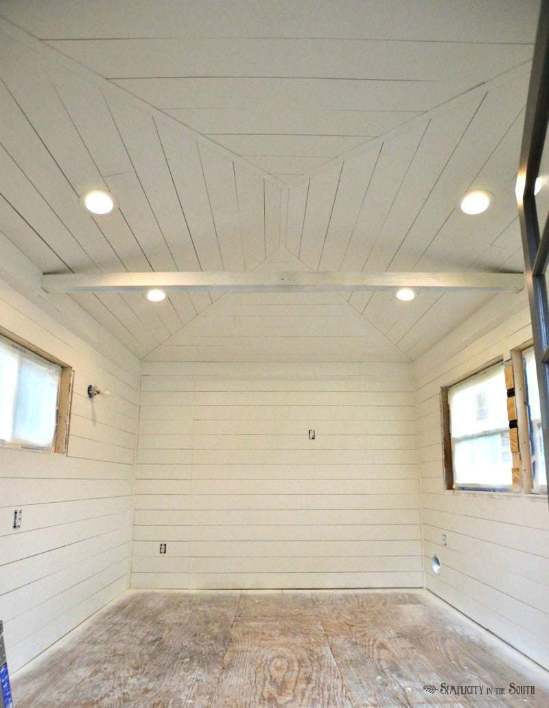 ORC Week 3: The Cottage Guest Shed Shiplap Walls, Painting & Lighting 8