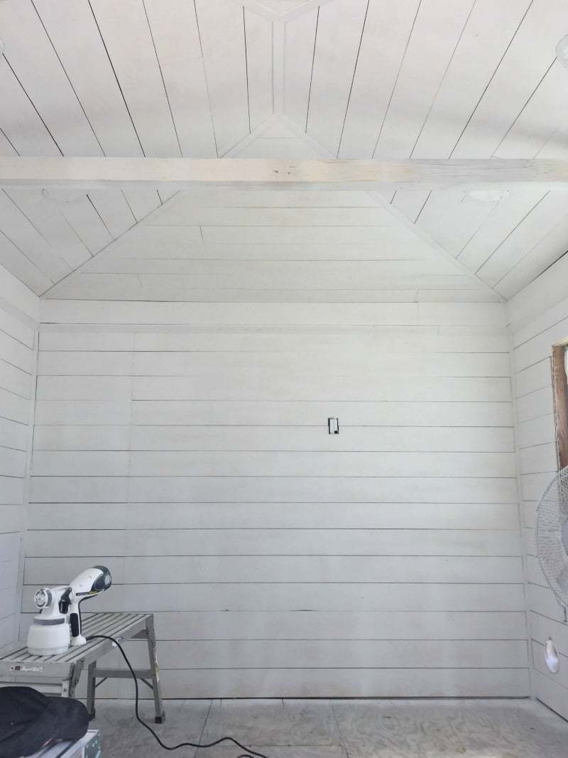 ORC Week 3: The Cottage Guest Shed Shiplap Walls, Painting & Lighting 7