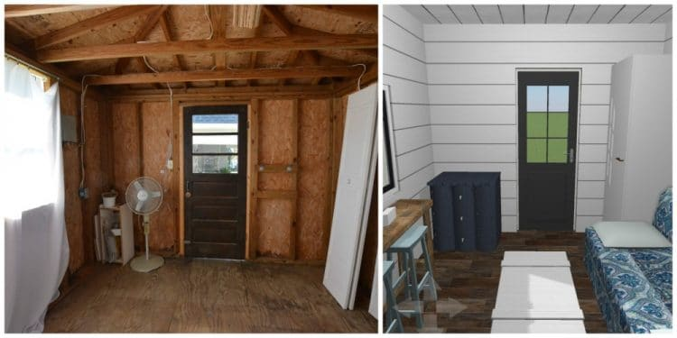 Part of the One Room Challenge, a garden shed is turned into a guest cottage shed with a modern farmhouse meets cozy cottage vibe