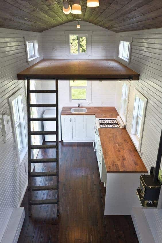 Tiny House with shiplap and planked wood ceiling via Tiny House Swoon