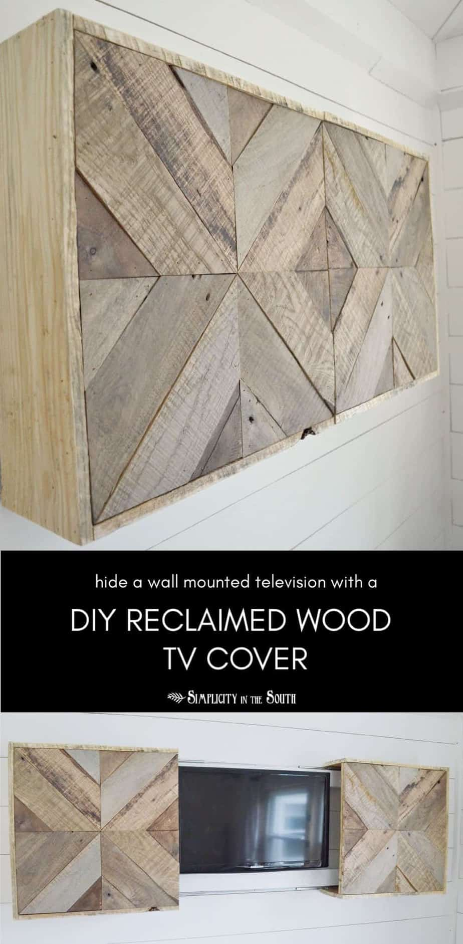 how to hide a wall mounted TV using a DIY reclaimed wood television sliding cover