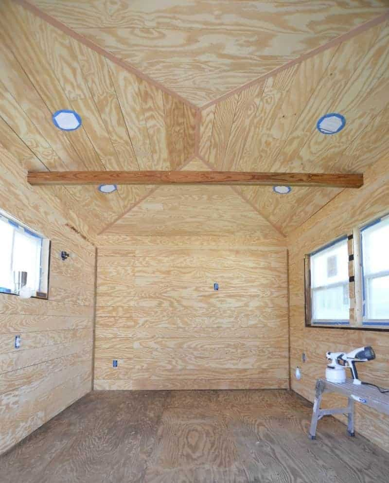 ORC Week 3: The Cottage Guest Shed Shiplap Walls, Painting & Lighting 6