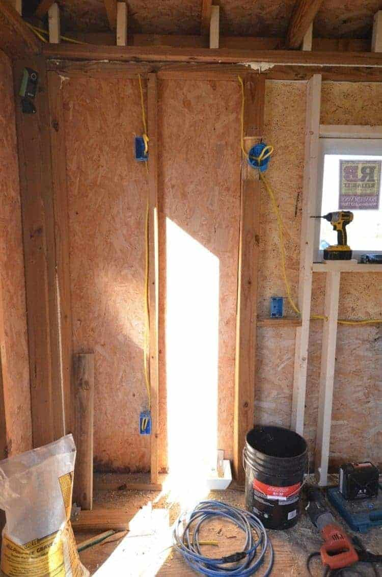 wiring for the kitchenette in the guest cottage