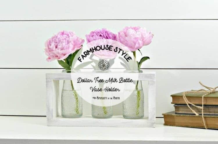DIY vase holder using milk bottles from the Dollar Tree