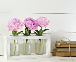 Farmhouse-Style DIY Flower Vase Holder Using Dollar Tree Milk Bottles