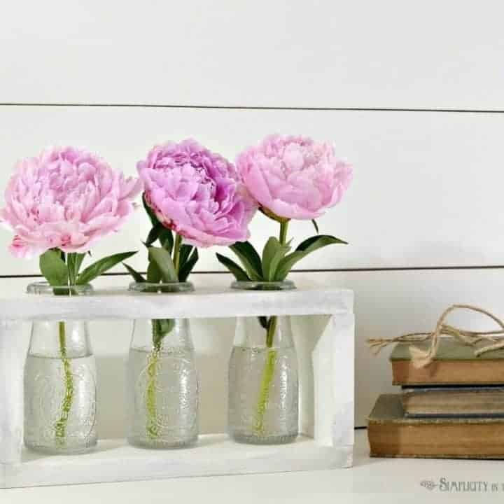 Farmhouse-style Dollar Tree Milk Bottle Vase Holder