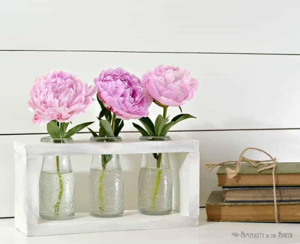 Farmhouse-Style DIY Flower Vase Holder Using Dollar Tree Milk Bottles