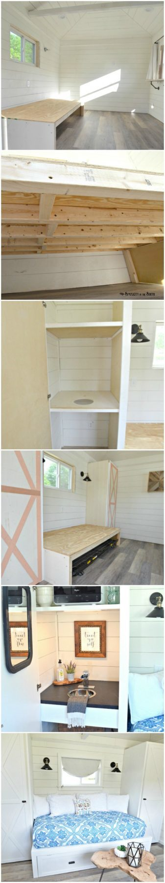 How to make a built-in trundle bed and cabinets for $300. This room gives me ideas for my own cute little tiny house!