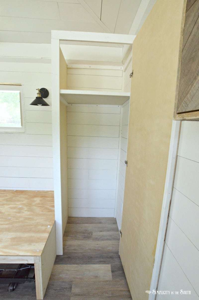 built in cabinets for the tiny house guest shed
