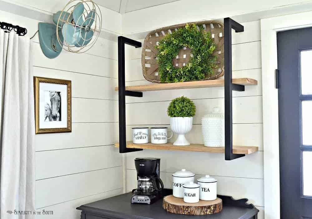 Farmhouse shelf brackets above the coffee bar in the cottage guest shed