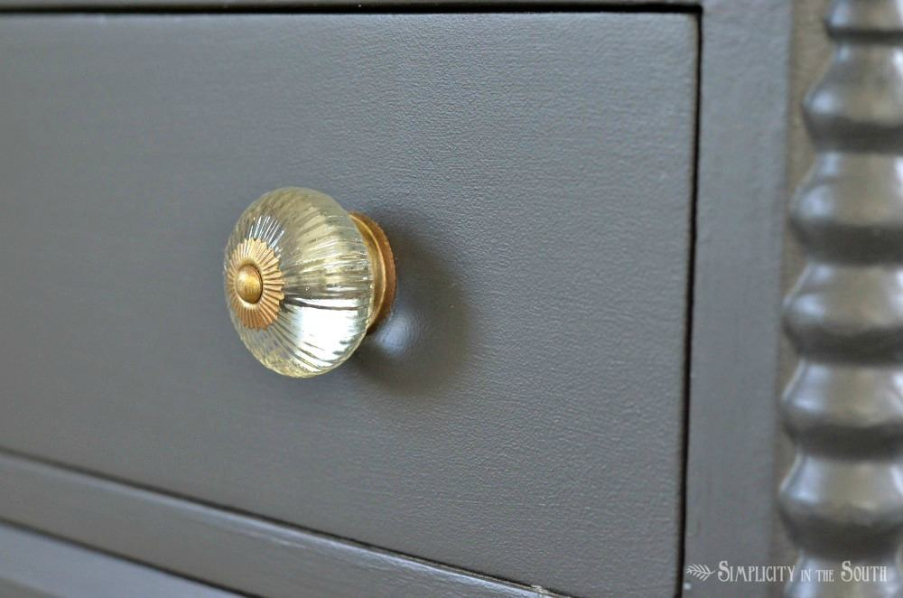glass knobs with antique gold accents