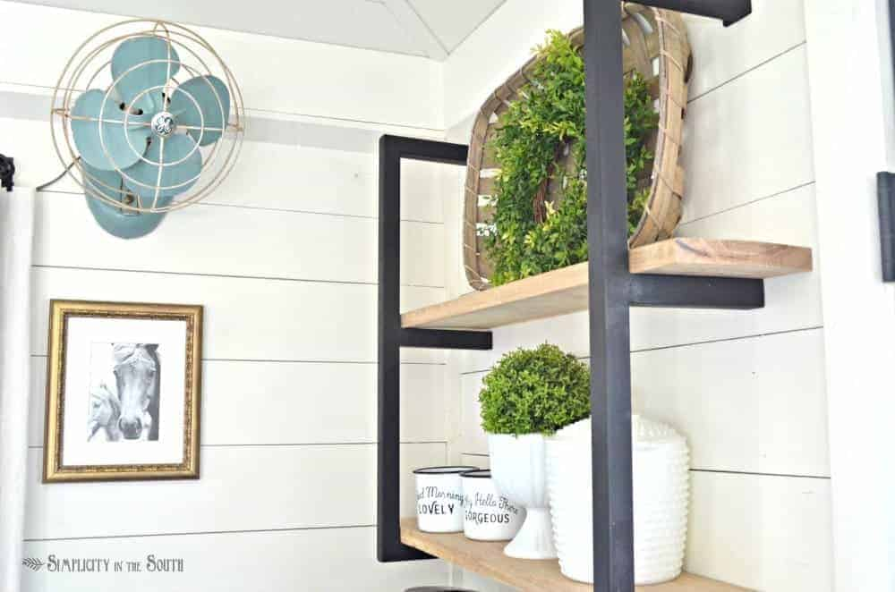 Modern farmhouse industrial shelf brackets and barnwood shelves
