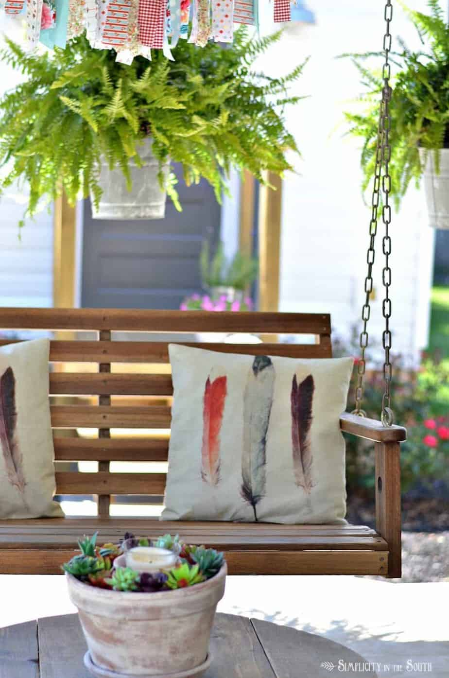 front porch swing and hanging ferns - Front Porch Swing