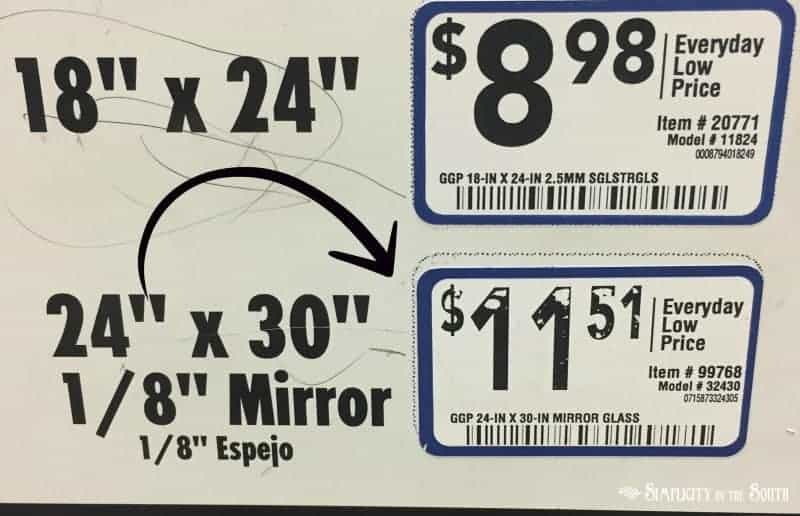 24 x 30 mirror found at Lowes