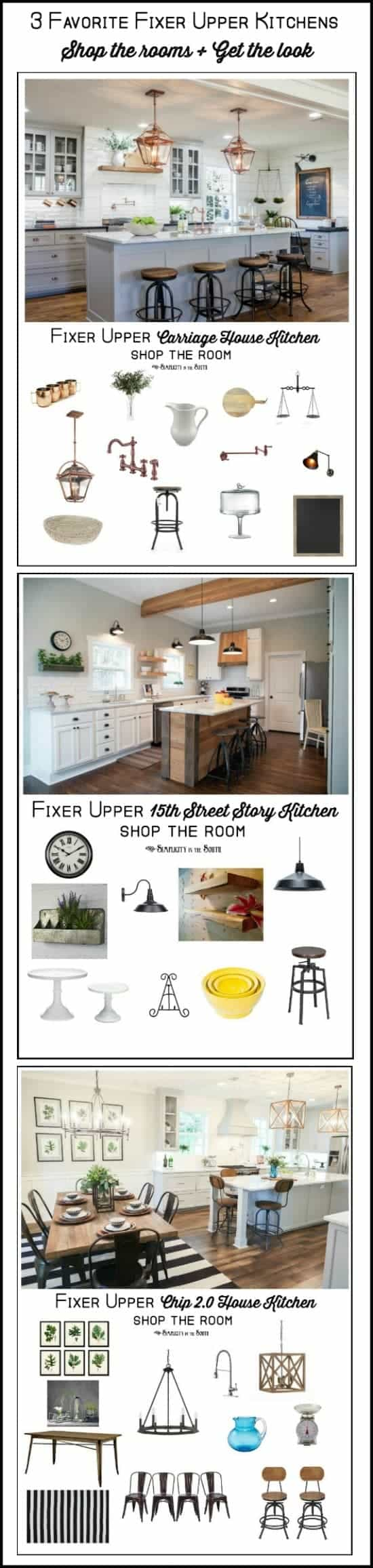 3 favorite Fixer Upper Kitchens Shop the rooms and get the look