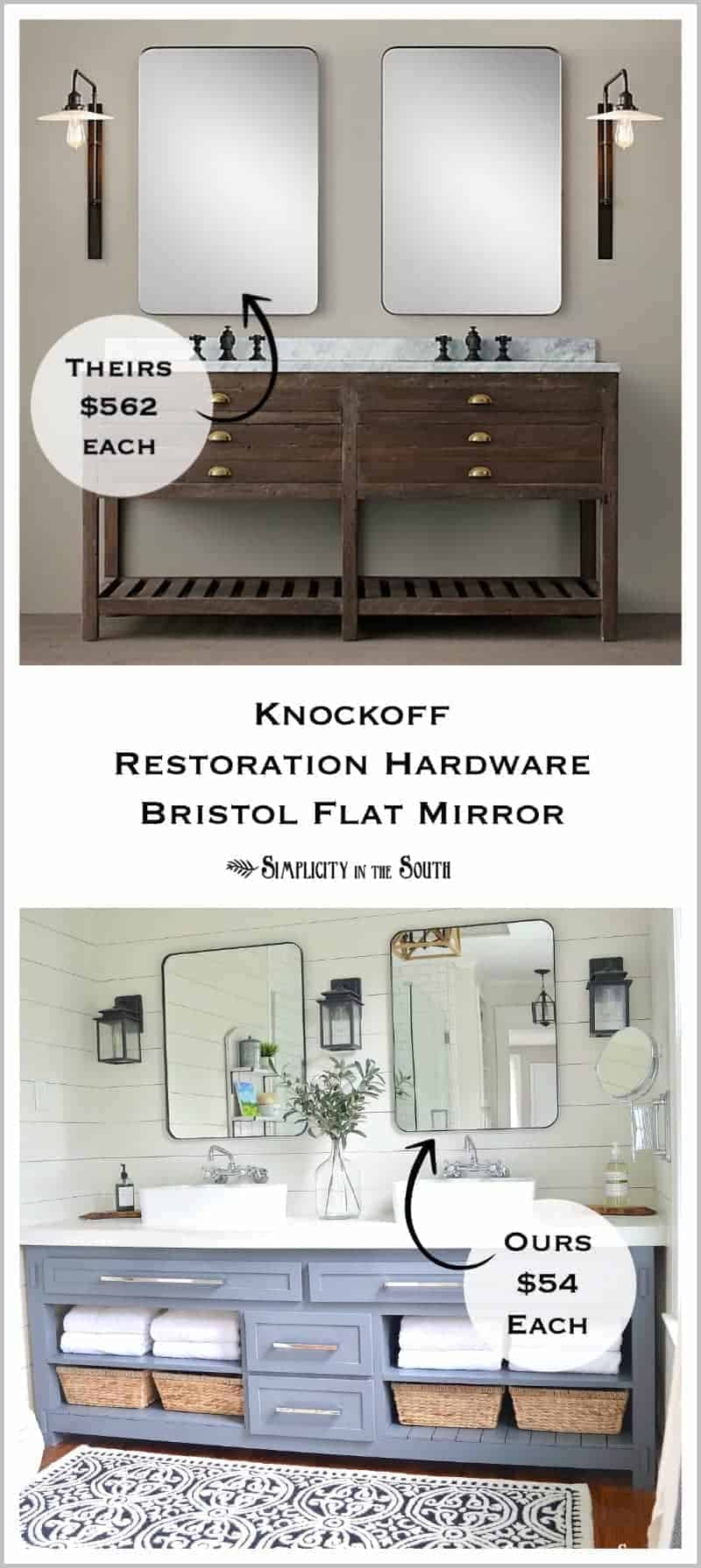 Love this!!! DIY Knockoff Restoration Hardware Inspired Bristol Flat mirror. This rounded rectangular mirror can be made a just a fraction of the cost of the original! Perfect for a modern farmhouse bathroom