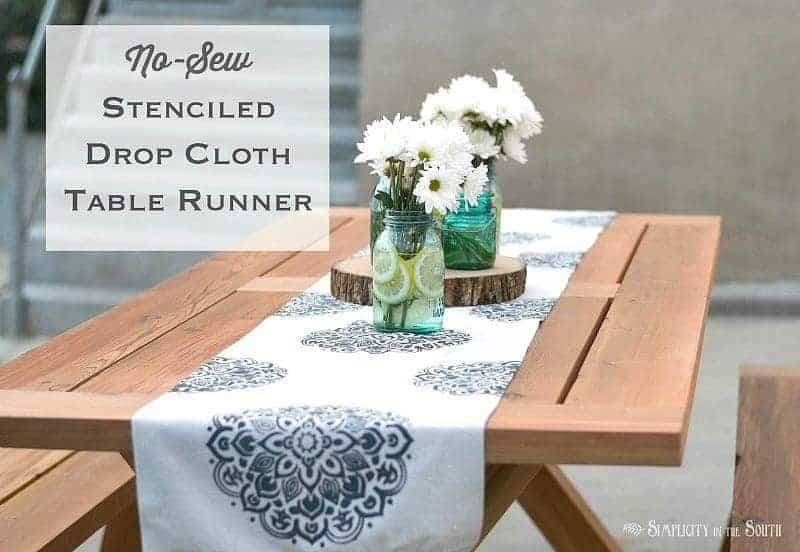 How to make an easy no-sew stenciled mandala drop cloth table runner